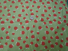 Red Apples with Polka Dots  on Green Flannel Fabric