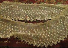ANTIQUE NET LACE FLOUNCES TRIM Hand Embroidery 3+ Yds Scalloped Remnants Doll