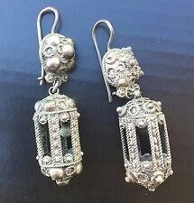 Antique Sterling Silver Jingle Bell Ringing Cage Dangle Earrings