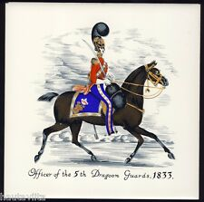 1833 5th Dragoon Guards Cavalry Vintage Ceramic Wall Tile HR Johnson England