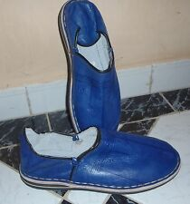 MENS TRADITIONAL LEATHER BABOUCHE Slippers, BLUE 10/44