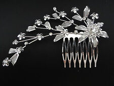 Hair comb silver metal comb flowers clear crystals 4.25 inches bride wedding