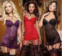 Sexy Babydoll Chemise Lingerie Plus Size Nightwear Underwear Lace Dress