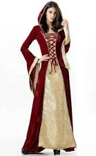New Red & Gold Medieval Velvet Gothic Cosplay Dress Corset Front size 10 12 14