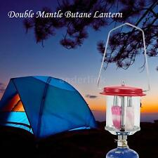 Outdoor Camping Double Mantle Butane Gas Lantern Lamp Light + Lighter K8V2