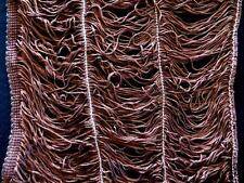 "VINTAGE DEADSTOCK 1950'S-1960'S BROWN WIDE RAYON STRING FRINGE TRIM 11 YD X 12""W"