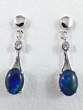 Genuine Australian Triplet Opal Stud Earrings w Cubic Zirconias Sterling Silver