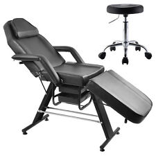 Adjustable Salon SPA Black Massage Bed Tattoo Chair Table Beauty Basket W/Stool