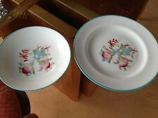 Set of Two Pretty China Dishes - Oriental Design -