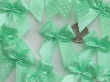 100! Pretty Polka Dot Bows - Pale Mint Green Bow Embellishments For Cardmaking!