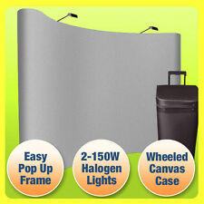 10' Pop Up Trade Show Display Booth Curved Floor Backdrop+Case, GRAY