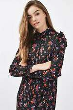 Topshop Black Winterberry Printed Midi Shirt Dress Tunic UK 8 EURO 36 US 4 BNWT