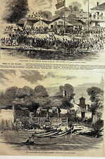 London Rowing Club BOAT HOUSE and the CRAB TREE INN on THAMES 1869 Print Matted