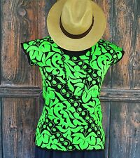 Hand Embroidered Huipil / Blouse Bright Green Peacock, Jalapa Mexico Hippie Boho