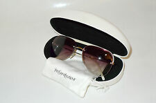 Auth YVES SAINT LAURENT Large Aviator Rimless White Brown Sunglasses