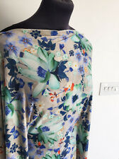Celestial Watercolour Floral/Flower Print Stretch Jersey Dressmaking Fabric