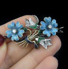 Antique Old European Cut Diamonds 14k Gold Enamel Floral Brooch Pin Bouquet