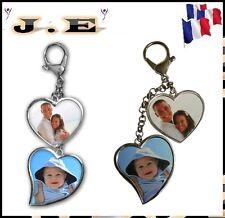 Porte-clés ou bijou de sac 2 cœur  personnalisé recto verso avec photo, message