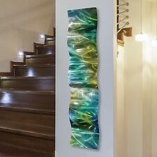 Contemporary Green & Gold Abstract Metal Wall Art Wave Sculpture Accent Decor