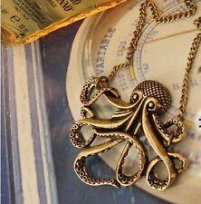 collar cadena larga colgante animal pirata caribe pulpo bronce