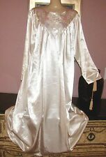 VTG PINK SILKY SMOOTH SATIN OUTSIDE SOFT BRUSHED COTTON INSIDE NIGHTGOWN SIZE L