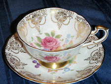 Paragon Tea Cup and Saucer - Rose and Fruit design with Gold Filigree