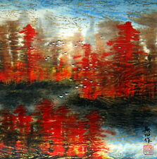 """Chinese painting landscape birds 16x16"""" traditional watercolor feng shui ink art"""