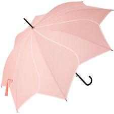 Lotus Remolino Caminar Paraguas de longitud-Rosa con Blanco vinculante