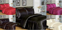 6 Piece Satin complete bedding set Duvet cover with fitted sheet, 4 pillow cases