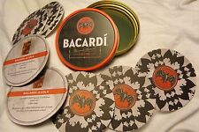 (8) Bacardi Bat Logo Cardboard Coasters...in a Collector's Storage Tin....NEW
