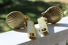 Two Vintage Sea Shell Brass Towel Bar Brackets Or Toilet Paper Holder Brackets