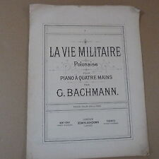 Pianoforte DUETTO G. Bachmann la vie MILITAIRE-polacca