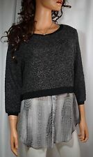 ELIE TAHARI Gray Mixed Media Boucle Sweater Chiffon Blouse Moch Layer Size Small