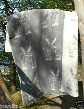 "Wende-Wolldecke Plaid Kuschelecke Elch ""Liebespaar"" 100%Wolle 130x200 cm grau"