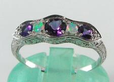 STUNNING  9K GOLD DECO INS AMETHYST & OPAL RING QUALITY PIECE
