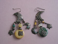 Hand Made Vintage Sterling Multistone Dangle Earrings ~ Shepherd's Crook Tops