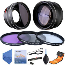 52mm Wide Angle & Telephoto Lens + Filters + Cleaning Kit Accessories for Nikon