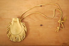 Vintage Deerskin Leather Southwestern Tobacco Medicine Fringe Pouch Necklace