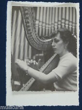 ak~ handmade greetings / birthday card 60s HARP PLAYER