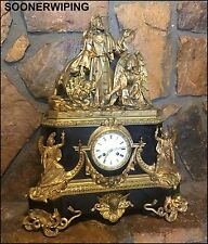 FRENCH MUSEUM 1840'S ORMOLU DORE BRONZE ANGEL BIBLICAL ANTIQUE MANTLE CLOCK