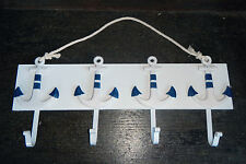 Wooden Coat Rack with Four Hooks - Nautical Anchor Theme - BNWT