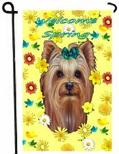 YORKIE painting GARDEN FLAG Dog Art Yorkshire Terrier puppy  Welcome Spring NEW