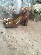 Auth TAHARI Bennett Brown Gold Accents Open Toe Shoes Pumps Heels Leather 8.5