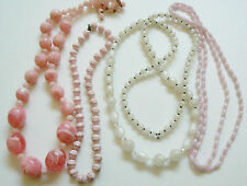 Lot of 4 VTG Fashion Beaded Strands Necklaces Licite Plastic Pink Pearly