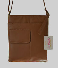 BNWT Clarks 'Timely Helen' Genuine Soft Tan Leather Cross Body Messenger Bag