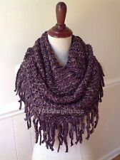 Women's Fringe Knit Winter Warm Thick Infinity Scarf 2 Loop 2 Tone Cowl Shawl
