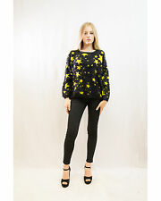 Lady Knitted Fluffy Star Stars Christmas Print Neon Colour Jumper Top Knitwear
