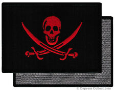 PIRATE FLAG VELCRO PATCH JOLLY ROGER Skull Swords NEW - BLOOD RED VERSION