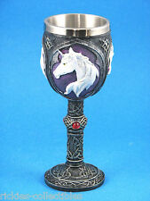 Gothic Medieval Skull & Bones Unicorn Goblet / Cup * New in Box *