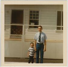 Square Vintage 70s PHOTO Little Boy & Teen Guy In Tie